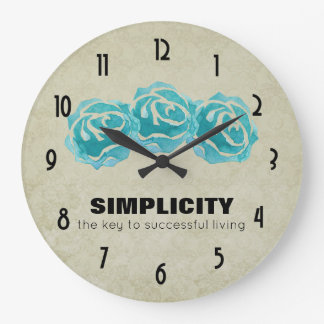 Simplicity Typography Quote with Teal Roses Large Clock