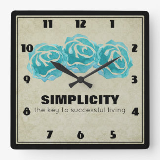 Simplicity Typography Quote with Teal Roses Square Wall Clock