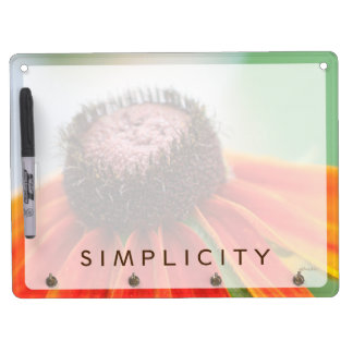 Simplicity Wildflower Orange Yellow Custom Dry Erase Board With Keychain Holder