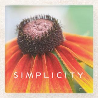 Simplicity Wildflower Orange Yellow Custom Glass Coaster
