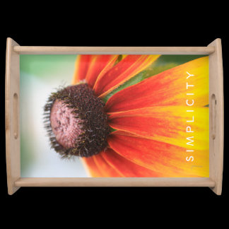 Simplicity Wildflower Orange Yellow Custom Serving Tray