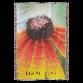 Simplicity Wildflower Orange Yellow Custom Throw Blanket