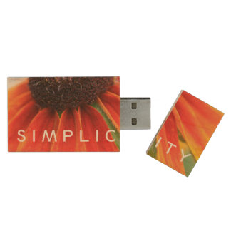 Simplicity Wildflower Orange Yellow Custom Wood USB Flash Drive