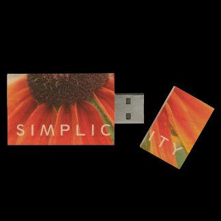 Simplicity Wildflower Orange Yellow Custom Wood USB Flash Drive
