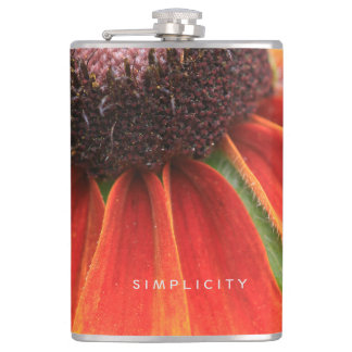 Simplicity Wildflower Orange Yellow Personalized Hip Flask
