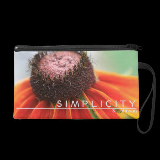 Simplicity Wildflower Orange Yellow Personalized Wristlet