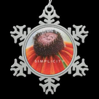 Simplicity Wildflower Rearview Mirror Hanger / Snowflake Pewter Christmas Ornament