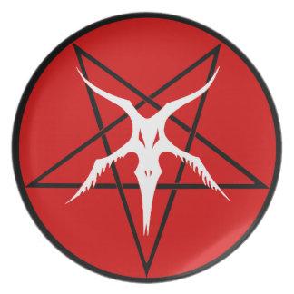 Simplified Baphomet Pentagram - Red Dinner Plate