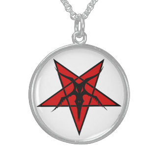 Simplified Baphomet Star Sterling Silver Necklace