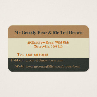 Simplified Bear Pride Contact Card for Gay Grooms