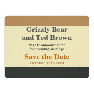 Simplified Bear Pride Flag Save the Date Card