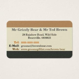 Simplified Bear Pride Flag Wedding Contact Card