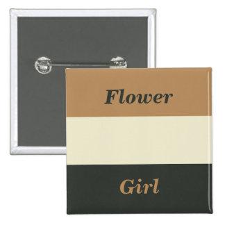 Simplified Bear Pride Flower Girl Wedding Badge Pinback Button