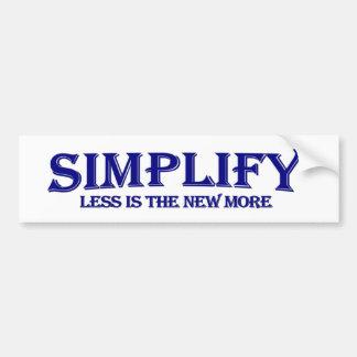 Simplifique menos es más pegatina para auto