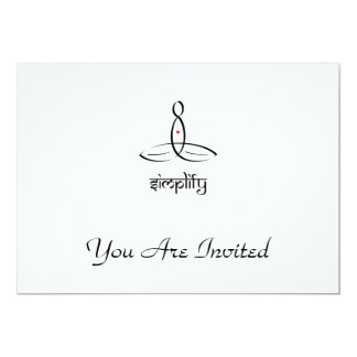 "Simplify - Black Sanskrit style 5"" X 7"" Invitation Card"