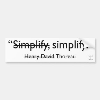 Simplify bumper sticker car bumper sticker