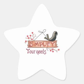 SIMPLIFY YOUR NEEDS STAR STICKER