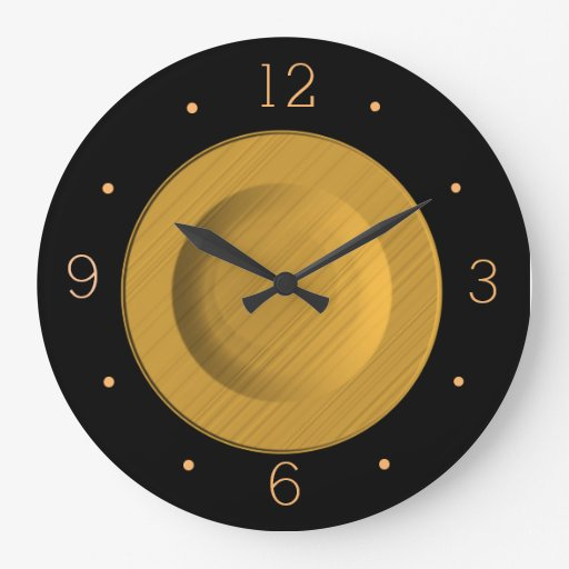 Simplistic Black and Yellow Gold> Wall Clock