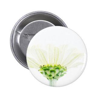 Simplistic White Zinnia Pinback Button