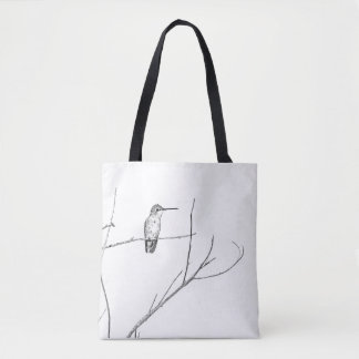 Simply a hummingbird on a stick tote bag
