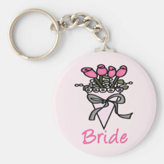 Simply Adorable Bridal Bouquet Basic Round Button Keychain