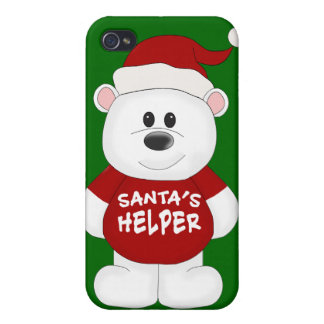 Simply Adorable Christmas Teddy Bear Art Cover For iPhone 4
