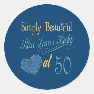 Simply Beautiful 50th Birthday Classic Round Sticker