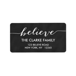 Simply Believe Chalkboard Holiday Greeting Label