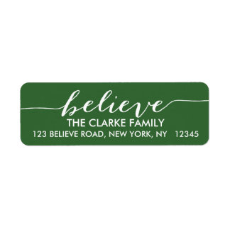 Simply Believe Green White Holiday Greeting Label