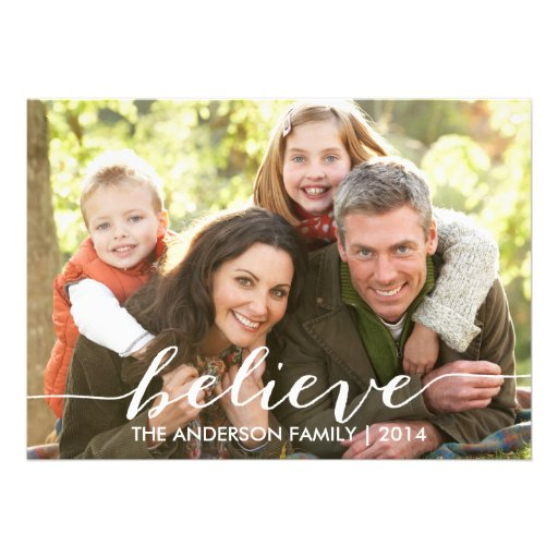 Simply Believe Holiday Photo Card 2014 Custom Invitations