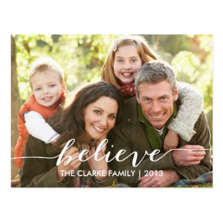 Simply Believe Holiday Photo Postcards | Red White