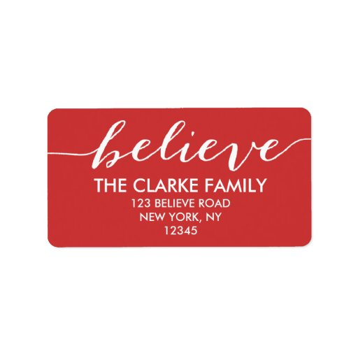 Simply Believe Red White Holiday Greeting Custom Address Label