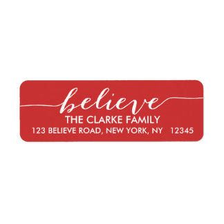 Simply Believe Red White Holiday Greeting Label