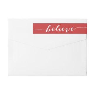Simply Believe Red White Holiday Greeting Wraparound Return Address Label