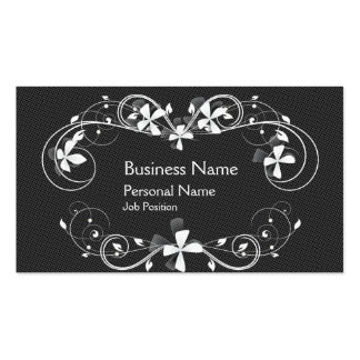 Simply Black And hite Floral Flower Business Card