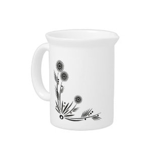 Simply Black and White Floral Pitcher