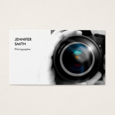 Simply Black and White Photographer Camera Lens Business Card at Zazzle