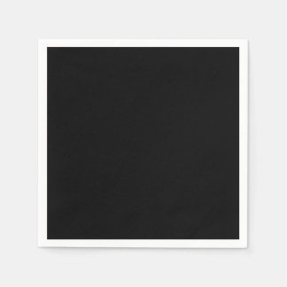 Simply Black Solid Color Customize It Paper Napkin