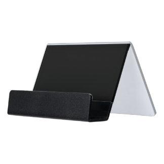 Simply Black Solid Color Desk Business Card Holder