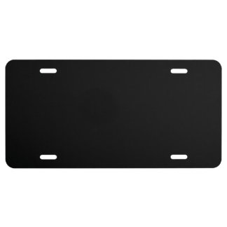 Simply Black Solid Color License Plate