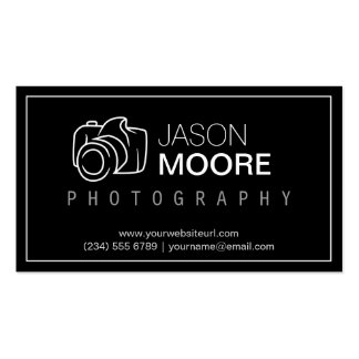 Simply Black White Camera Outline Logo Photography Double-Sided Standard Business Cards (Pack Of 100)
