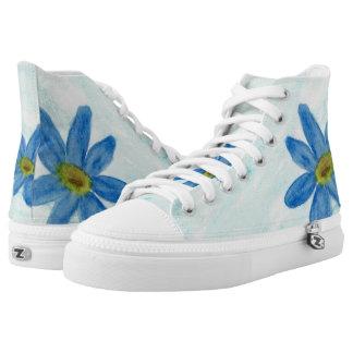 Simply Blue Flowers Hi Top Printed Shoes