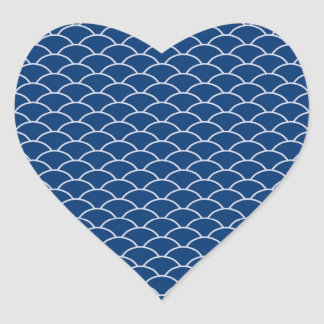 Simply Blue Japanese Wave Pattern Heart Sticker