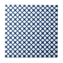 Simply Blue Quatrefoil Pattern - blue and white Ceramic Tile