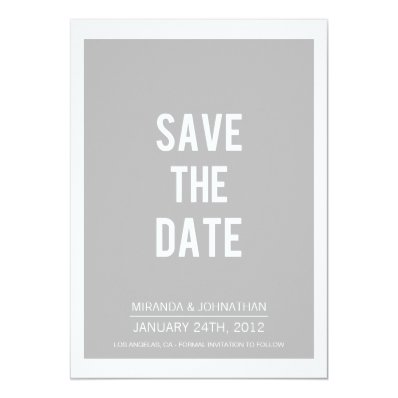 Simply Bold Gray Save The Date Announcements