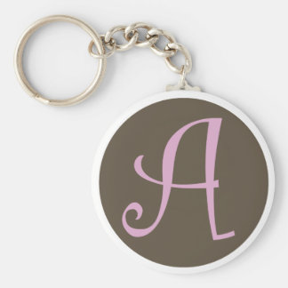 """Simply Brown & Pink Keychain """"A"""""""