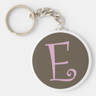 """Simply Brown & Pink Keychain """"E"""""""