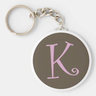 """Simply Brown & Pink Keychain """"K"""""""