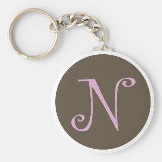 """Simply Brown & Pink Keychain """"N"""""""