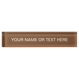 Simply Brown Solid Color Desk Name Plate